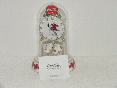 "New Coca-Cola 6"" anniversary clock polar bear With cubs in original package"