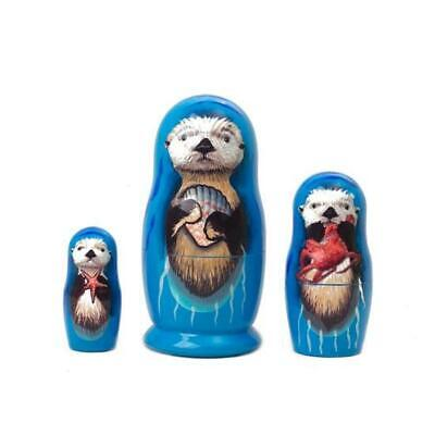 Sea Otter Family Russian Wooden Nesting Doll Set 3 pc Hand Painted Decoupage