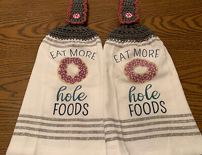2 Double Sided Crocheted Top It's Fall Let's Tailgate Y'all Dish Hanging Towels