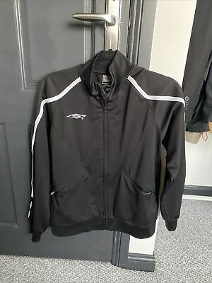 Jacket: Zip Junior Boys Umbro Division Lined Tracksuit In White Black