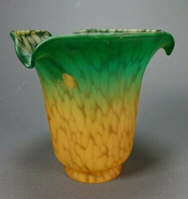 """AMBER /& GREEN ~ LILY ~ TULIP TABLE LAMP SHADE ART GLASS ~ 1 1//2/"""" FITTER"""