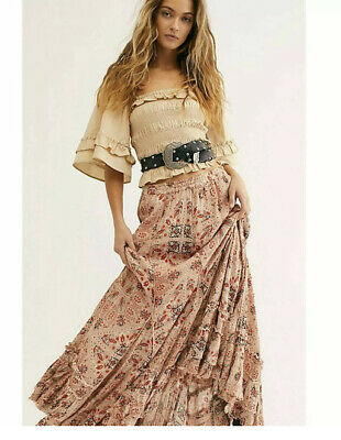 Small NEW Free People F19R07606 Women/'s One Cypress Ruffle Skirt in Sage