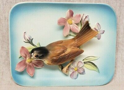 Vintage Enesco Robin Bird on Tree Branch With Pink Flowers 3-D Wall Plaque !!
