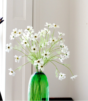 Bunch of 10 Artificial White Cosmos Realistic Wild Meadow Flowers Daisies ONE