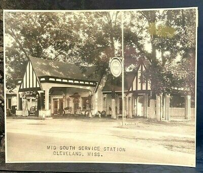 NM1) 1935 Pure Oil Service Station Gas Pump Sign Photo Coca Cola Cleveland MS