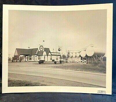 NM1 1935 Pure Oil Service Station Gas Pump Sign Photo Cleveland MS Coca Cola