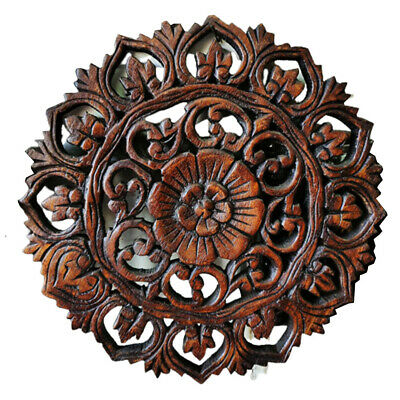 Modern Hand Carved Wood Wall Art Plaque, Round Wood Carved Wall Decor