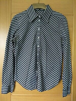Austin Reed Ladies Fitted Shirt 12 Blue White Dogtooth Blouse 1 10 Picclick Uk