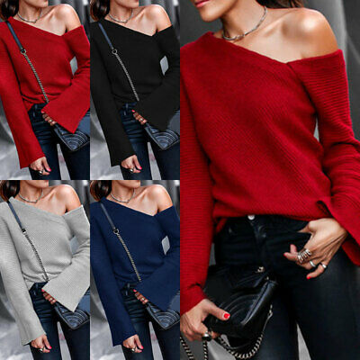 Women/'s One Shoulder Long Sleeve Sweater Pullover Jumper Casual Tops Knit Blouse