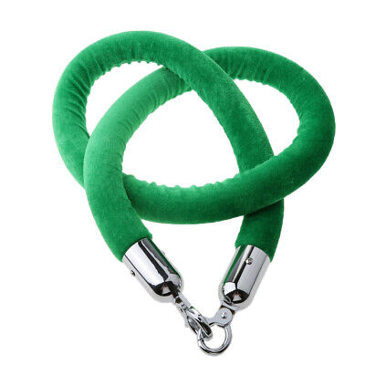Barrier Rope Crowd Control Stanchion Queue Velvet Rope with Hooks 2m Green
