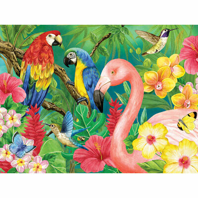 3-pc Rectangle Tropical Birds Parrot Pattern Wood Framed Stretched Canvas Art