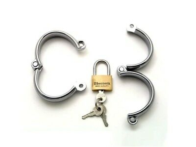 Metal Locking ANKLE shackles /& U-clamps FREE UK DELIVERY LARGE CU-27-SIL