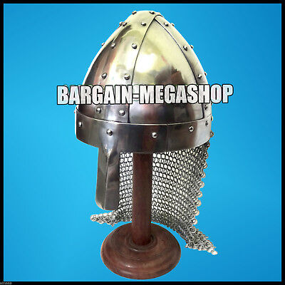 Heavy 16 Ga Medieval Norman Viking Nasal Helmet with Chain Mail Curtain & Liner