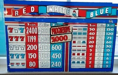Used 4 ¼ X 5 3//8. Slot Machine Part Blue IGT 2 Coin Winner Paid Glass