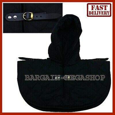 Medieval Cotton Padded Hood Armor Collar and Coif Arming Cap - Black