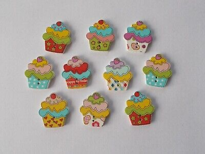 10 Pack 25mm Cake Wooden Buttons