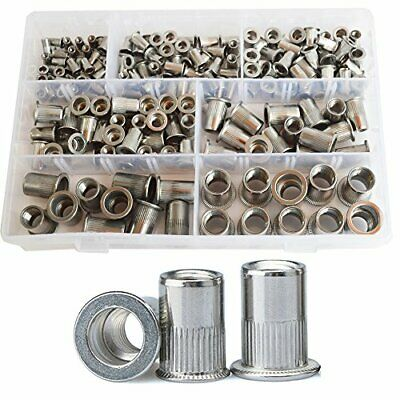 185 Pieces Rivet Nut Flat Head Metric Threaded Insert Standard Assortment Set