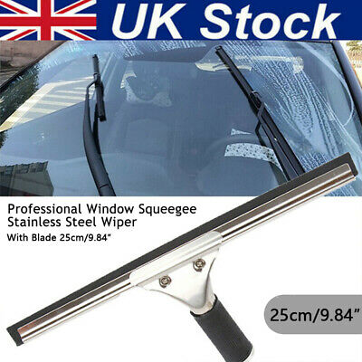 Window Professional Glass Squeegee Cleaner 25cm Rubber Blade Applicator Wiper UK