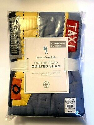 Nib Pottery Barn Kids On The Road Transportation Quilted Pillow Sham
