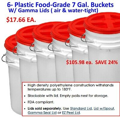 ONLY $17.67 EA. Premium 7 Gal Bucket w/Gamma Seal Lid, HDPE, White, PICKUP ONLY