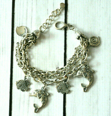 vintage Signed chunky dolphin charm chain bracelet in silver tone