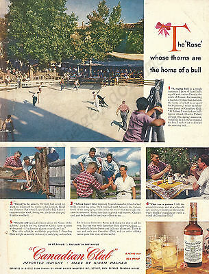 """Canadian Club Original 1953 Vintage Print Ad """"Game of the Ribbon"""" Saliers France"""