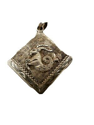 Vtg Mexico 925 Sterling Silver Aries Zodiac Sign Design Large Pin Brooch