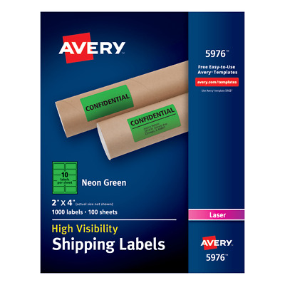 "Shipping Labels,10UP,2""x4"" ,100Shts,1000Lbls/BX,NE/GN"