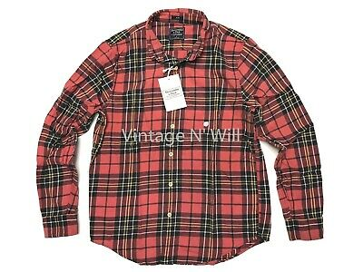 Abercrombie Fitch AF Jeans Mens XL Red/ Black Slim Fit Check Plaid Flannel Shirt