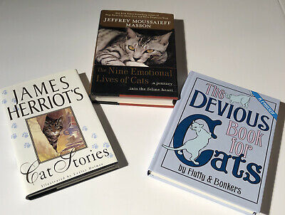 Cat Stories, Devious Book For Cats, 9 Emotional Lives Of Cats 3 Book Lot VGC