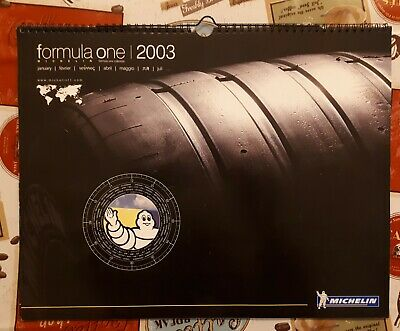 Calendario Michelin Formula One 2003, pubblicitario Bibendum F1 Omino Michelin