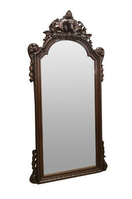 Large 19th Century Antique French Hunt Pier Mirror, 90 Tall, Dog Carving
