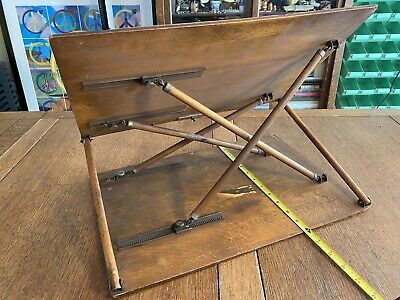"""Antique Lap Table Book Stand Display Lectern Industrial Steampunk Look 18"""" X 12"""""""