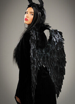 Womens Halloween Maleficent Style Long Black Gothic Adult Fancy Dress Wig