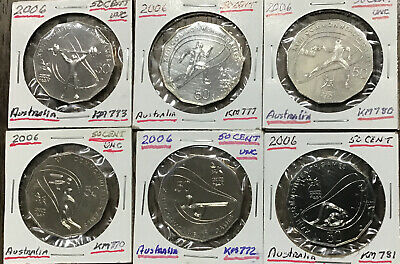 Lot Of 6 Australian 50 Cent Coins- 2006 Commonwealth Games