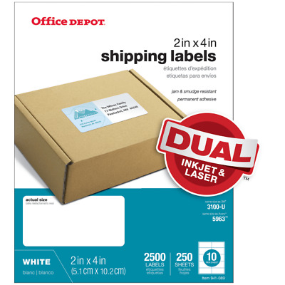 "Office Depot Laser Shipping Labels, 505-O004-0020, 2"" x 4"", White, 2500-Pack"