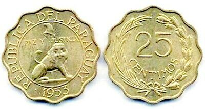 Thirty (30) Paraguay 25 Centimos 1953 Coins, Uncirculated  KM27