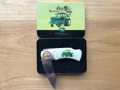 Collectible John Deere Tractor Folding Pocket Knife with Metal Tin