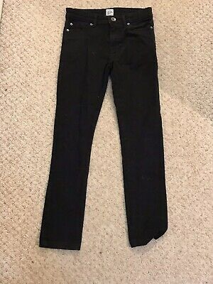 Enzo Black Straight Fit Boys Jeans Age 10-11/11-12 Button Zip Fly Denim Pocketed