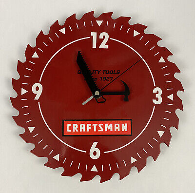 """CRAFTSMAN 10"""" Red Saw Blade Wall Clock Hammer + Saw Hands- NICE SHAPE- WORKS!"""