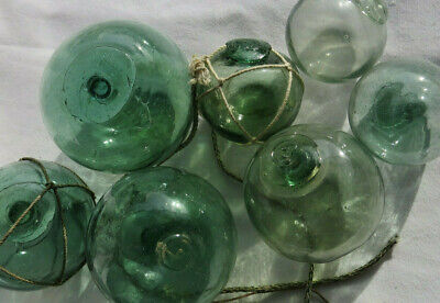 Japanese Blown Glass Floats (7) Mixed Sizes WATER INSIDE Each Antiques