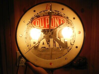 """Vintage 1959 Dupont Paint 15"""" Round Pam Advertising Clock For Repair"""