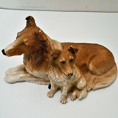 Collie Mother & Puppy Statue Figurine Laying Together Resin Figure EUC