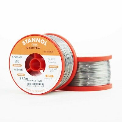 Solder wire 0.5mm 250g with flux 3.0% Kristall 505 Stannol for soft soldering