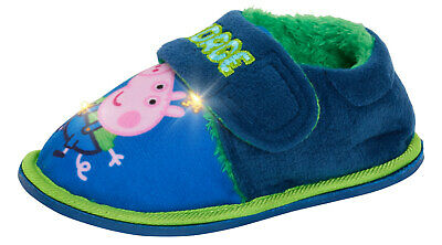 Boys Peppa Pig George Pig Light Up Slippers Infants Dino Fur Lined House Shoes