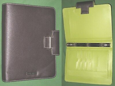"""CLASSIC ~ 0.75"""" Brown & Green S LEATHER Day Runner Planner BINDER Franklin Covey"""