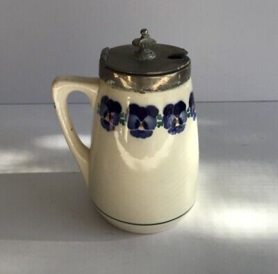 WMF Jugendstil {Art Nouveau } Pansy Decorated Jam Pot Metal Ceramic circa 1904