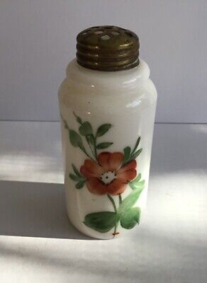 "Antique Boston & Sandwich Hand Painted Milk Glass Shaker 3-3/4"" tall"