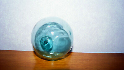 """Antique Japanese Japan Glass Fishing Float Buoy Green 9"""" Circumference"""
