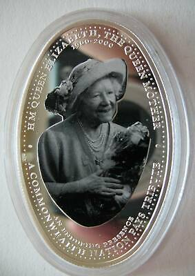 Zambia 4000 Kwacha 2000 Silver Proof Coin 100th Birthday Queen Mother,Old Lady